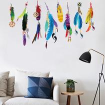 Adesivo Decorativo Parede Filtro Dos Sonhos Penas Coloridas