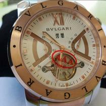 Relógio Bv Masculino Prata Rose C/ Fd Branco