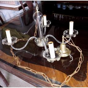 A.c Antigua Araña De Cristal Cuatro Luces Leer Descripción