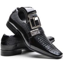 Sapato Social Masculino Em Couro Envernizado Brilhoso+cinto