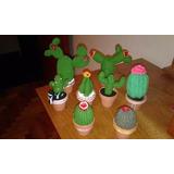 Cactus Tejidos Al Crochet Souvenirs Adorno X 10 Unidades