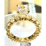 Anel Feminino Noivado Solitário De Ouro 18k750 Com Diamantes
