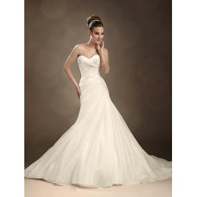 Hermoso Vestido De Novia Straples, Corte Sirena, Talla Chica