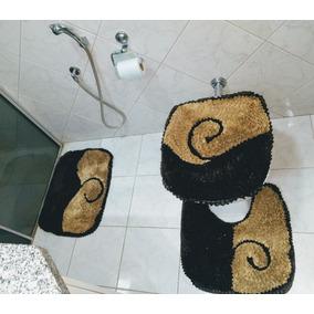 Jogo Tapete Banheiro 3 Peças Malha Gel Fru Fru