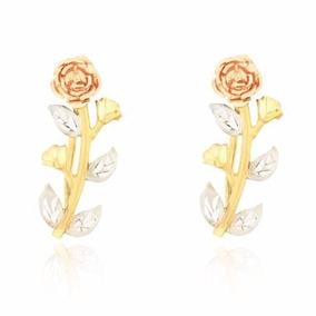 Brinco De Ouro 18k Rosa Ouro Amarelo Branco E Rosê 3 Cores