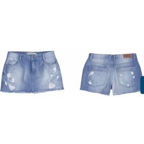 Shorts Saia Jeans Feminino Com Detalhes Destroyed - Hbn0/mjt