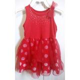 Vestido Infantil Marisol Vermelho Tule Poá
