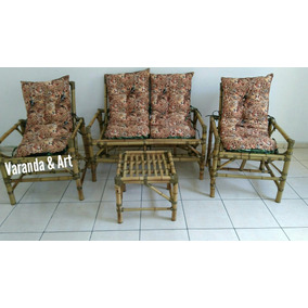 Sofá/poltronas/cadeiras De Vime/bambu Jogo Completo
