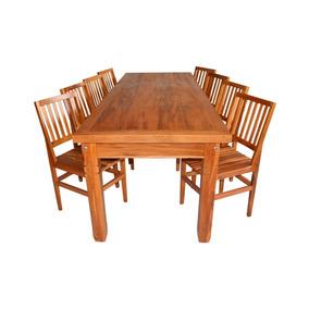 Mesa De Madeira De Demolição 2,5m Com 8 Cadeiras Cambury