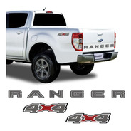 Kit Faixa Traseira Ford Ranger 2020 E Adesivo 4x4 Grafite