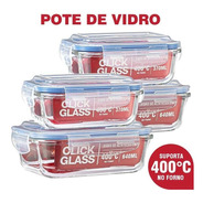 Kit Com 4 Potes De Vidro Click Glass Premium 100% Herméticos