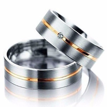 Aliança Individual Prata Namoro Compromisso Filete Dourado
