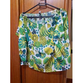 Blusa Ciganinha Com Estampa De Frutas Na Cor Verde