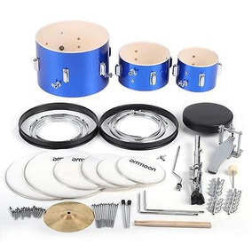 Niños 3-piece Drum Junior Set Azul Con Baquetas Platillo...