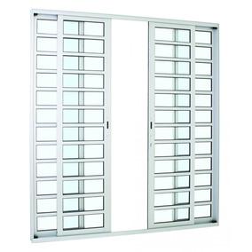 Porta De Correr Sasazaki Alumifort Em Alumínio Com Divisão