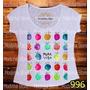 Blusa Tshirt Feminina Abacaxi Colorido Cores Pura Vida Fruta
