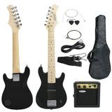 Guitarra Eléctrica De Niño Niños 30 Negro Guitarra Con