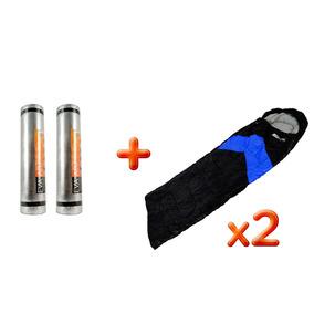 Kit 2 Sacos Dormir Viper Preto Nautika + 2 Isolantes Térmico