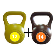 Kit Combo Pesas Rusas Kettlebell 12 Y 14kg Fitness Mancuerna