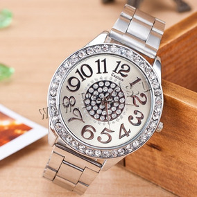 Relógio Feminino Prata Com Strass Kanima Números Grandes