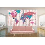 Vinilo Mural Mapamundi Mapas Mundo Gigantes Lienzo Cuerina