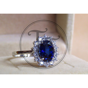 Anillo Princesa Lady Di Zafiro 2.78ct En Plata Esterlina 925