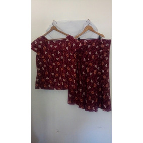 Conjunto De Blusa Y Pollera Rojo Con Flores
