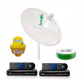 Fg Antena Parabolica Complet 2 Receptor 60 Canais Anadigi Sd