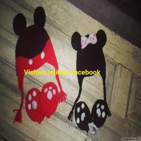 Gorro Minnie Mickey A Crochet Mas Manoplas Guantes