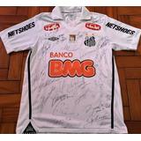 Camisa Santos Usada Jogo 2011 Autografada Todos