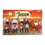 Set 4 Muñecos Tipo Playmobil Lejano Oeste Piratas Vaqueros