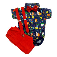 Roupa Festa Aniversário Bebê Menino Body Pequeno Príncipe Bermuda Suspensório E Gravata Blue Kids