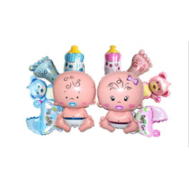 Combo Globo Baby Shower Coche Tetero Oso Pies Bebe Nacimient
