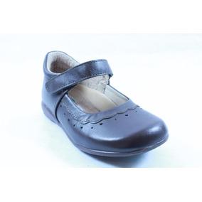 Zapato Miniburbujas Café Escolar Para Niña 17.5 Mod 74006