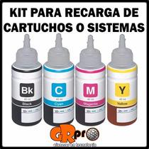 Tinta Para Impresora Y Sistema Continuo Kit Completo 4tintas