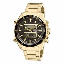 Relógio Technos Anadigi Masculino Dourado Grande 0527ae/4p