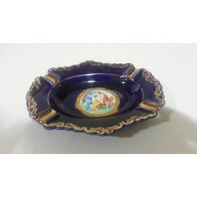Cenicero De Porcelana Limoges Azul Cobalto