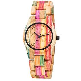 Gute Eco-amigable Colorido De Bambú Señoras Reloj De Cuarzo