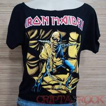 Blusa Feminina Gola Canoa Banda Rock Heavy Metal Iron Maiden