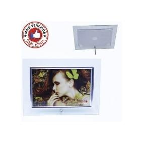 Porta Retrato Vidro Com Filete Dourado Ou Prata 10x15 Horiz