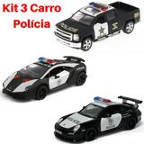 Kit 3 Carrinho Miniatura De Ferro Policial Policia Viatura!!
