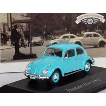 Miniatura Fusca 1961 - Carros Inesquecíveis Brasil