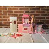 Cocina De Barbie Con Muñeca Barbie - Todo Original Mattel