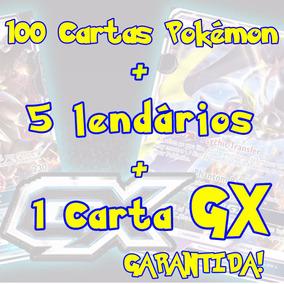 Lote 100 Cartas Pokémon + 1 Carta Gx + 5 Lendários
