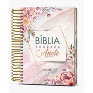 Bíblia Promoção Anote Espiral Flores Rosas Nvi Diária Mulher