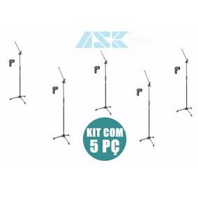 Pedestal Microfone Girafa Tps Preto Ask+cachimbo Kit 5 Pç