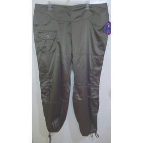 Pantalon Dama Talla Extra 22\3xl Cargo Baggy Satinado Olivo