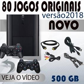 Ps3 Novo 80 Jogos + 2 Controles + Fifa 18 + Pes18 + Gta 5