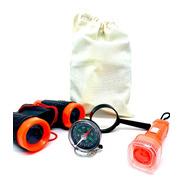 Kit Aventura Explorador Binoculo Lupa Lanterna Ecobag