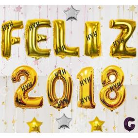 Kit Balão Metalizado Feliz 2018 - Grande 70cm + 4 Brindes